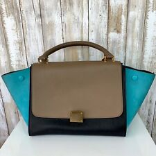CELINE Trapeze Black Turquoise Teal Taupe Tricolor Leather 2 Way Strap ITALY