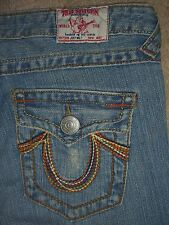 TRUE RELIGION Joey Big T Rainbow Flap Pkts Twisted Leg Jeans Womens Size 28 x 31