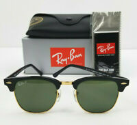 Ray-Ban Clubmaster Gold & Black Polarized Sunglasses, RB 3016 901/58 51mm wCase