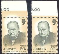 GB JERSEY 1974 20P 100th Birthday Sir Winston Churchill VARIETY BUFF COLOR SHIFT
