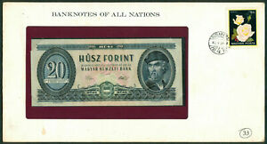 BANKNOTES OF ALL NATIONS HUNGARY 20 Forint 1982 UNC with Stamp on envelope