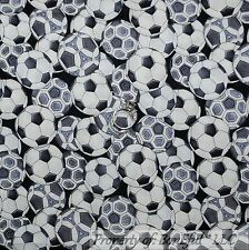 BonEful FABRIC FQ Cotton Quilt Black White Gray B&W SOCCER BALL Sport Boy School