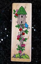 Hero Arts Wood Mounted Rubber Stamp #F331 Climbing Vine Birdhouse 1993 UNUSED?