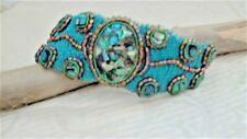 """Handmade Designed Abalone Bracelet,Teal, 7.5"""" L x 1""""-2""""W, silver mag clasp,lined"""