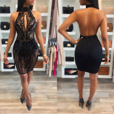 Sexy Women halter backless bodycon Sequins Party Club Cocktail evening Dress