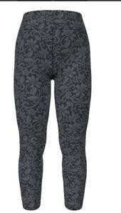 Lularoe Tween Leggings Black Gray Floral Scrolls NWT