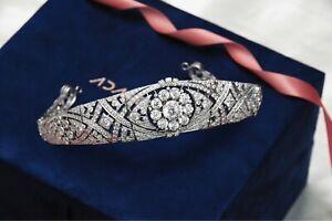 Bandeau Tiara Interlaced Head Jewelry Center Detachable Diamond Flower Brooch