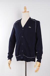 Lacoste Live Mens Blue Knit Cotton Cardigan Sweater 4 M L Medium Large #M1