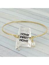 Gold and Silver Home Sweet Home Alabama Hook Closure FASHION Bracelet w/ Pearl