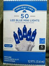 Holiday Time 50 Blue LED Mini Lights White Wire Indoor/Outdoor NIB