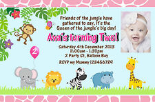 Personalised Jungle Animals Birthday Invitations Kids Party 1st 2nd Zoo Invites