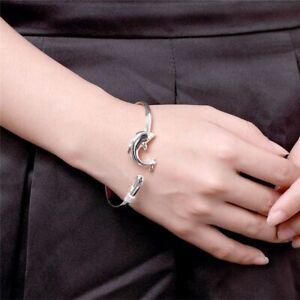 1Pcs Women Jewelry Silver  Color Dolphin Bangle Bracelet Birthday Gift