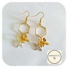 Bee Gold &Silver Plated Earrings 🐝Hexagon Honey Dangle Drop🌼 Handmade 🌟