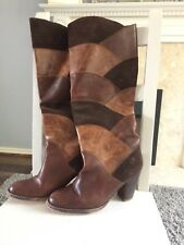 Bronx Tan Leather Knee High Boots Size 5