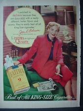 1952 Fatima Cigarettes Joan L Robinson Air Line Hostess Vintage Print Ad 12180