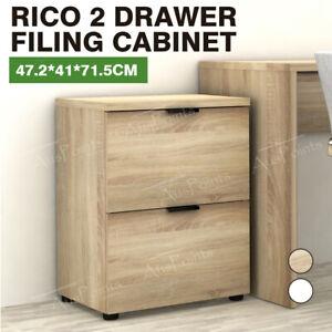 Rico 2 Drawer Filing Cabinet Files Storage Office Shelves Organise Oak/White