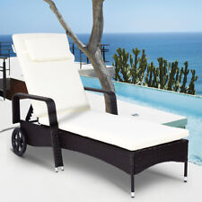 Outdoor Chaise Lounge Chair Recliner Cushioned Patio Furniture Adjustable Wheels