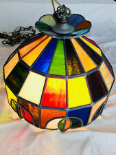 Vintage Beautiful Stained Glass Hanging Lamp Multi-Color with Floral Motif : EX