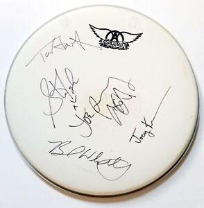 "Aerosmith REAL hand SIGNED 16"" Drumhead JSA LOA by Steven Joe Joey Tom Brad"