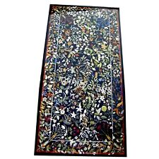 36 x 72 Inches Patio Dining Table Top Marble Office Table with Marquetry Art