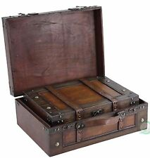 Decorative Storage Suitcases Vintage Style Antique Luggage Steamer Trunk Wood
