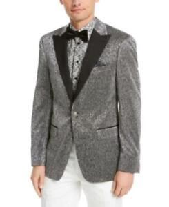 MSRP $295 Tallia Orange Mens Slim-Fit Silver Dinner Jacket Size 40 R/M37.5