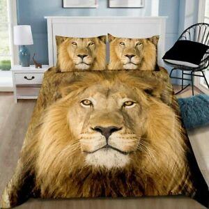 Lion Quilt Cover Set Pillowcase Single Double Queen King Size Bedding