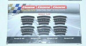 Carrera 132 / 124 20572 Kurve 2/30°, 6 Stück 3 Zapfen OVP