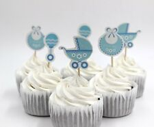 "BABY SHOWER 24 X ""IT'S A BOY"" CUPCAKE CAKE TOPPER PICKS / BLUE/WHITE"