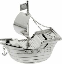 Bambino SILVER PLATED MONEY BOX PIRATE SHIP Baby Shower Christening Gift BN