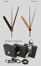 Quarz Uhrwerk + Zeigersatz 80 mm lautlos Alu schwarz gold 8cm f. Wanduhren leise