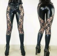 Sexy Net Mesh Black Rose Gothic Goth Lace up Faux Leather Punk Leggings SH61