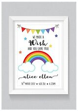 A4 Personalised Print: Rainbow Nursery Decor Baby Birth Details