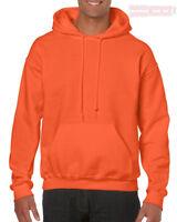 Naranja Gildan Liso con Capucha Mezcla Resistente Sudadera Jersey para Hombre