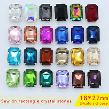 9p 27x18mm rectangle crystal glass applique sew on rhinestones craft loose beads