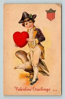 Valentine Greetings with Liberty Theme, Eagle, Boy, Flag, Vintage Postcard Z46