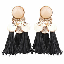 Stunning Black Tassel Fringe Gold Sequin Dangle Fashion Statement earrings