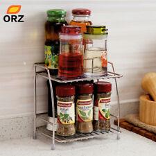 Kitchen Spice Rack Stainless steel 2 Tier Storage Shelf Bathroom Organizer Holde