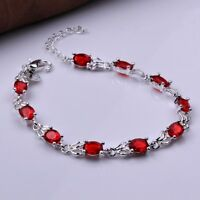 Women's Sterling Silver 19.18 CT Oval Cut Created Red Garnet Tennis Bracelet