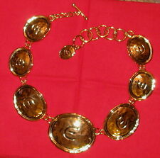 ELIZABETH TAYLOR Collection Toggle NECKLACE Medallion E Signature Gold Coast NIB