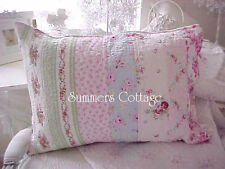 TWO SHABBY BEACH COTTAGE BELLA BLUE PINK ROSES TICKING GREEN CHIC PILLOW SHAMS