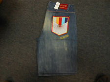 COOGI Men's BLUE Denim Jean Shorts NEW WITH TAGS Bird/Sword Design $145 RETAIL!