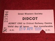 GREAT WESTERN SOCIETY DIDCOT RAILWAY CENTRE TICKET