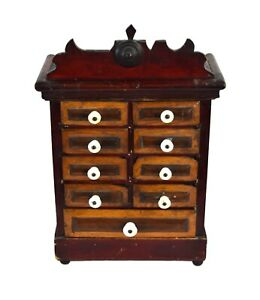 Antique 19th Century Folk Art Spice Parts Collectors Apothecary Cabinet