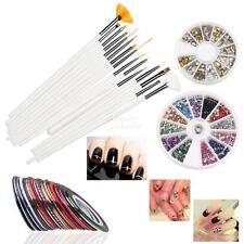 New 15PCS Nail Art Design Pen Brush Kit 30 Nail Decoration Tape Rhinestones Set