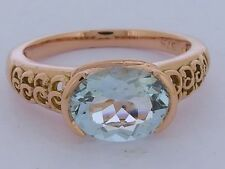 R160- Genuine Solid 9K Rose GOLD NATURAL Aquamarine Oval Solitaire Ring size O