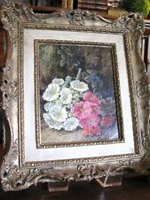 """George Clare (1835-1900) Oil Painting """"Pink & White Flowers"""" Findlay Galleries"""