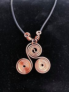 Hand-Crafted Solid Copper Sacred Triskelion Necklace - EMF Protect. Scalar Waves