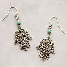 Hamsa Hand Earrings Hand of Fatima Yoga Boho Dangle Drop Earrings