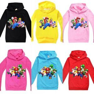 Super Mario 3D World Kids Hoodie Tops  Sweatshirt Jumper Boys Girls Age 2-15Y UK